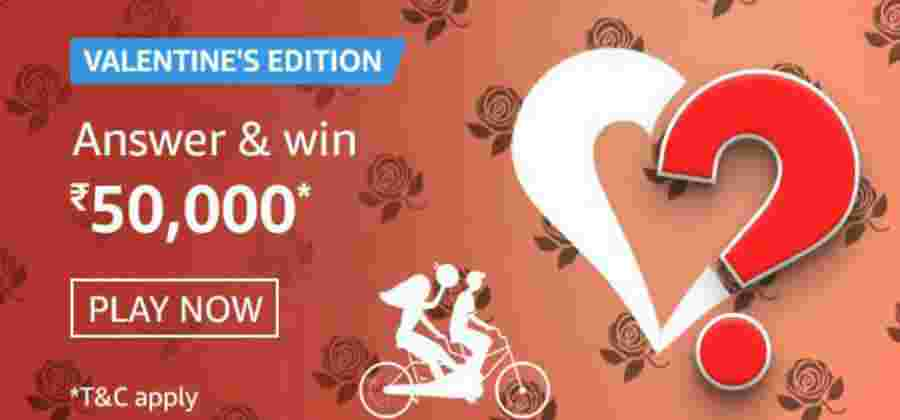 Amazon Valentine's Special Edition Quiz Answers Win Rs.50000